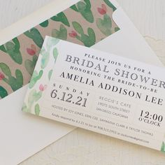 Set the tone of your bridal shower with Mint Cactus, Beacon Lane's customizable vintage cactus style invitations specially made for your party.
