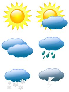Here we have a nice little pack of weather symbols or weather icons that you can download as vectors or PNG files. Whether... uh-hum... you're looking for a sun symbol, or sunny symbol, a cloud sym...
