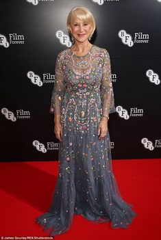Chic: It came as no surprise to see Helen Mirren was a vision of beauty in a dazzling flor...