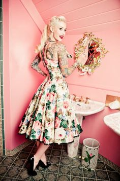 I got the blonde (short) hair, the tattoos, now I just need the dress. :)  vintage pink by Lena Hoschek