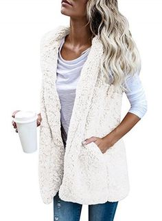 Hooded Sleevelee Solid Color Lamb Wool Vest OASAP.com