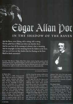 #EdgarAllanPoe | Article In The Shadow of The Raven | 1