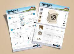 L'entreprise BMOP vient de créer la marque BatiVentil pour distribuer son nouveau produit : une Aération de vide sanitaire en béton moulé. Création d'une notice pour Aération vide sanitaire BatiVentil. J'avais précédemment créé une identité visuelle pour la marque BatiVentil. Montage, Design, Crawl Spaces, Corporate Design, Business
