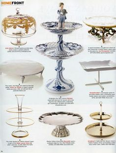 Let then eat cake - or even cupcakes, for that matter - in style.  In the 17th century Europeans used a classic footed serving tray to shuttle wineglasses between kitchens and dining room tables. As entertaining became more elaborate, the tazzas, as they were then called, were stacked on top of one another, forming large tiered pyramids. Soon they held not only glassware but edible treats as well - jellies, sweetmeats, fruit tarts, and sugared nuts. The idea stuck, and thus the dessert plate…