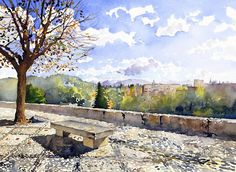 Watercolour Print featuring the painting The Alhambra In Autumn by Margaret Merry