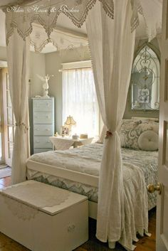 Really love curtains around the bed -- this room has so many things that are so beautiful.....