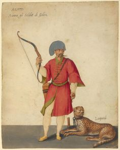 Jacopo Ligozzi, 1547-1627, Italian, An Azappo Archer with a Cheetah, c.1575.  Brush, pen and brown ink, tempera colors, and painted gold, 28.1 x 22.2 cm.  J. Paul Getty Museum, Los Angeles.  Mannerism.