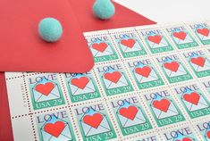 Red Heart Love Postage Stamps - 29 cents - Vintage 1992 - Unused - Quantity of 25