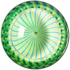 Fratelli Toso Murano Yellow Green Ribbons Italian Art Glass Decorative Bowl