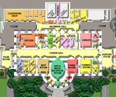 This virtual tour of the White House has current and historical floor plans of each floor and section of the building as well as ground layouts -PLUS historical floor plans from various eras in its history. Basement Floor Plans, Basement House, House Floor Plans, White House Plans, White House Tour, White House Washington Dc, White House Interior, Hall Room, House Map