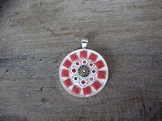 Ronde mozaiek hanger rood