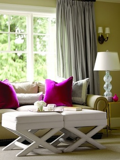 Living room.  A  pale neutral with greeny undertones lets the others shine.  Love the pop of pink. Graciela Rutkowski.