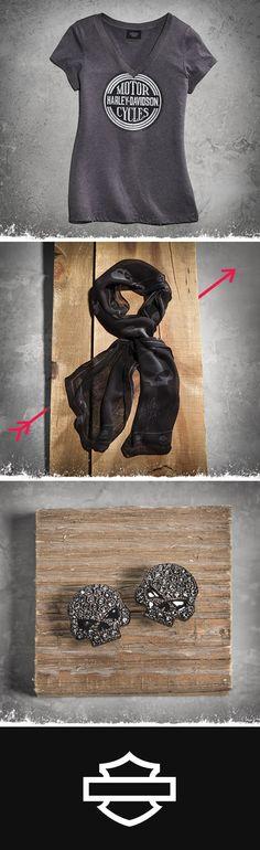 Get your flirt on in basics with an edge.   Harley-Davidson Vintage HDMC V-Neck Tee, Allover Skull Print Scarf and Skull Earrings