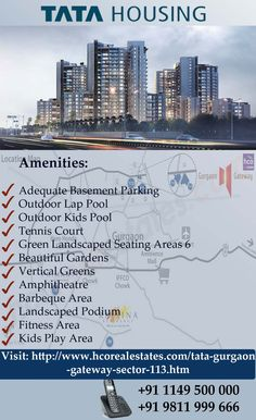 "Tata Housing presents ""TATA GATEWAY GURGAON"" situated in sector 113 & 112, Gurgaon. Its Offers 2 and 3BHK Residential apartments with all basic amenties, power backup and efficient car parking etc.Here, You can fulfill your dreams to the best level."