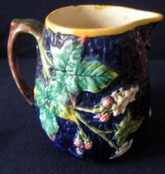Antique Majolica Pitcher Cobalt Blue with Large Green Leaves and Small Flowers | eBay