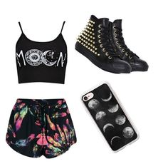 """""""the sun the moon the truth"""" by angela-mccubbin ❤ liked on Polyvore featuring Boohoo, Converse and Casetify"""
