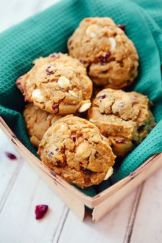 Some the Wiser: Pumpkin Cranberry White Chocolate Cookies...I might sub dark chocolate for the white