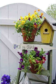 Happy Summer Garden Tour Paint my ladder. Summer Garden, Home And Garden, Bloom Where You Are Planted, Happy Summer, Garden Gates, Mellow Yellow, Yard Art, Pansies, Container Gardening