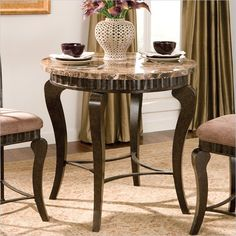 Steve Silver Company Hamlyn 3 Piece Round Counter Height Dining Table Set in Brown - HL600PT-3Pc-Dining-PKG