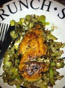 Itallian Garlic Chicken With Leeks - 200 Calories (serves 1)