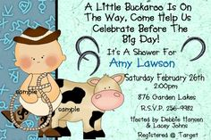 Free Printable western Baby Shower Invitations | COWBOY BABY SHOWER Invitations- Western