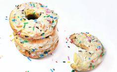 cake batter doughnuts: recipe yeilds 6 at only 55 calories each (yeah you read that right!) baked in oven and either formed by hand, put in doughnut tin or muffin tin for doughnut holes. recipe and nutrional content does not include frosting but she offers many different recipes for frosting which are also low cal. SQUEE!