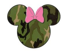 Camo Camouflage Minnie Mouse head INSTANT DOWNLOAD digital
