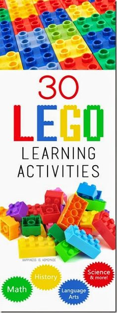 Because we have no shortage of legos/megablocks. This round of up 30 educational LEGO learning activities shows that there are LOTS of different ways to use Legos for math, reading, language arts, history, science and more! Lego Activities, Educational Activities, Preschool Activities, Learning Tips, Kids Learning, Learning Logo, Mobile Learning, Learning Games, Lego Math
