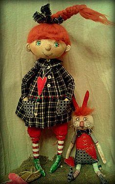 рыжая девочка и её друг,рыжий заяц