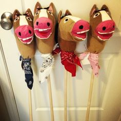 Stick ponies made from IKEA horse puppets. For Declan and Gwendolyn's 2nd Birthday Farm Party!
