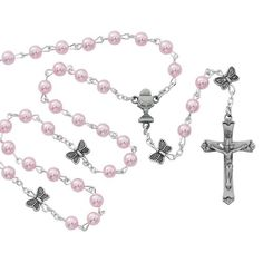 Pink First Communion rosary ... with butterfly Our Father beads! Made with a little girl's heart in mind.