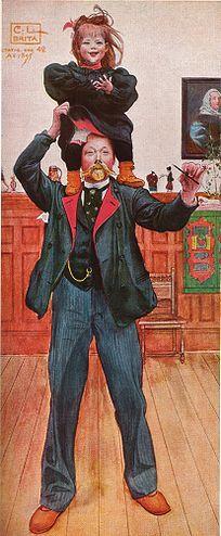 """Carl Larsson """"självporträtt med Brita"""" 1895"""