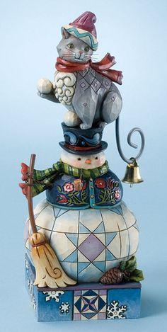 Jim Shore Cat on Snowman Whimsical Christmas Figurine