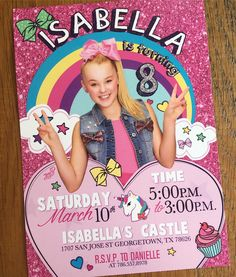 Jojo Siwa Birthday Party Ideas Invitations Ideas For 2020 Jojo Siwa Birthday Cake, Dance Party Birthday, Happy Birthday Girls, Unicorn Birthday Parties, 10th Birthday, Birthday Party Invitations, Birthday Photos, Birthday Ideas, Joko