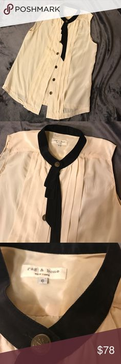 Rag and Bone button down blouse Gorgeous button down shirt with hanging kind of ruffle by the neck. Cream color. 100% silk. Very good condition rag & bone Tops Blouses