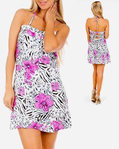 Halter Dress Open Cross Strap Back White Floral Print Pink Black Gray $14.99