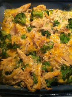 Easiest Dinner Ever! Chicken Broccoli Casserole Approximately 3 cups of shredded chicken 16 oz bag of frozen broccoli (cooked) 1 container of cream of mushroom soup* 1 cup of shredded cheddar cheese Garlic powder and pepper to taste Preheat oven to 350 degrees. Mix all ingredients together in a bowl, pour into a 9x9 baking dish and cook for 25 minutes.