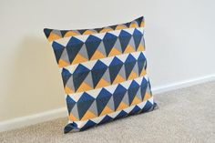 Blue, Mustard, Grey-Black Geometric/Scandi Cotton Linen Cushion/Pillow Cover in 18 x 18""