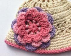 Crochet Hat Pattern  - Girls Sun Hat Crochet Pattern No.106 Spring Project Digital Download PDF Pattern