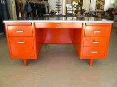 This is my vision of my perfect home office desk, the color is perfect Drawing Utensils, Orange Desks, Rustic Industrial Decor, Industrial Design, Tanker Desk, Repurposed Furniture, Furniture Ideas, Office Makeover, My Living Room