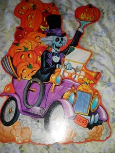 Vintage Halloween Cut Out Skeleton in Car by Kirk Rare