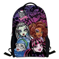 2016 New Cartoon Monster High Backpack Children Schoolbag Student Book Bag Boys Kids Girls Bags School Bag