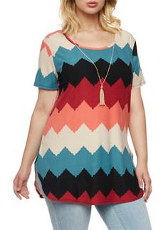 Plus Size Chevron Top with Necklace - 3912072240045