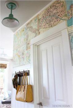 Map wallpapered hallway
