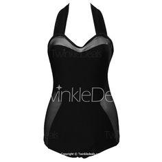 Stylish Halter Spliced Plus Size One-Piece Swimsuit For Women