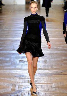 Fun skirt!  #Stella_McCartney / Fall 2012 RTW / model: #Daria_Strokous black with radioactive cobalt sides!