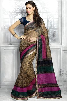 Brown printed party wear saree with matching  blouse From Hdbazaar.