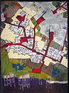 """Riverside Settlement"" Fiber Art map by Valerie S. Textile Fiber Art, Textile Artists, Map Quilt, Quilts, Quilt Art, Imaginary Maps, Collages, Map Design, Fabric Design"