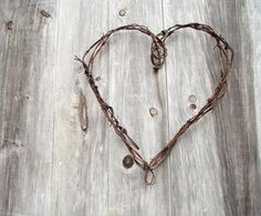 Wire Heart Wreath Antique Rustic Barbed Wire Farmhouse by gazaboo, $24.00