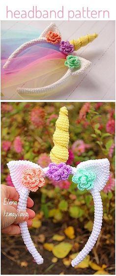 Crochet Unicorn Blanket, Crochet Unicorn Pattern, Crochet Headband Pattern, Crochet Bunny, Crochet Toys, Crochet Patterns, Crochet Ideas, Crochet Projects, Summer Headbands